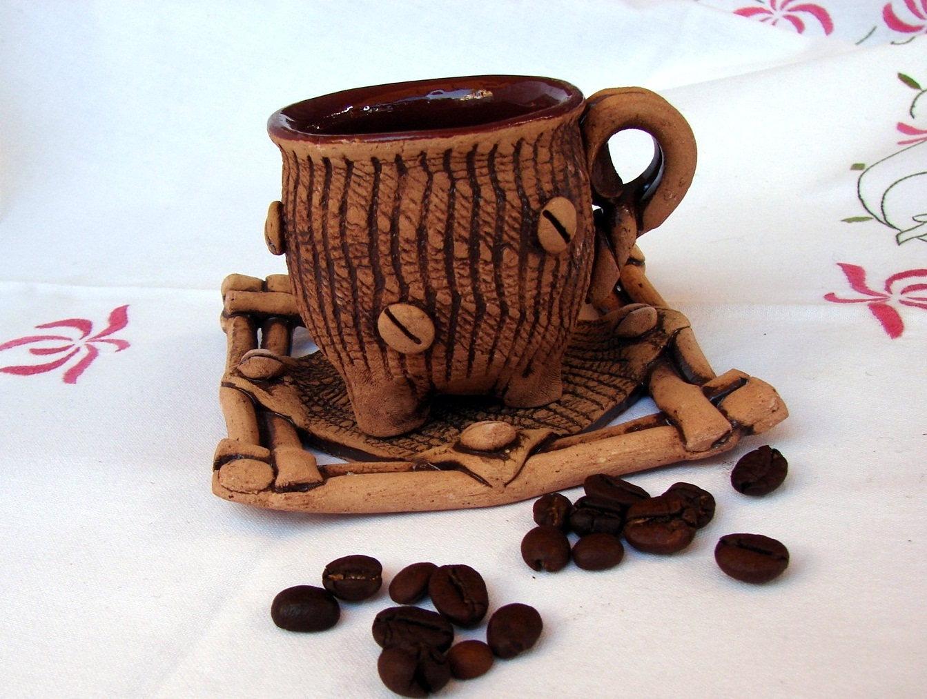 Ceramic Coffee Mug With Plate Espresso Or Arabic Coffee Cup